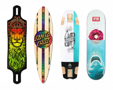 Different types of skateboard decks